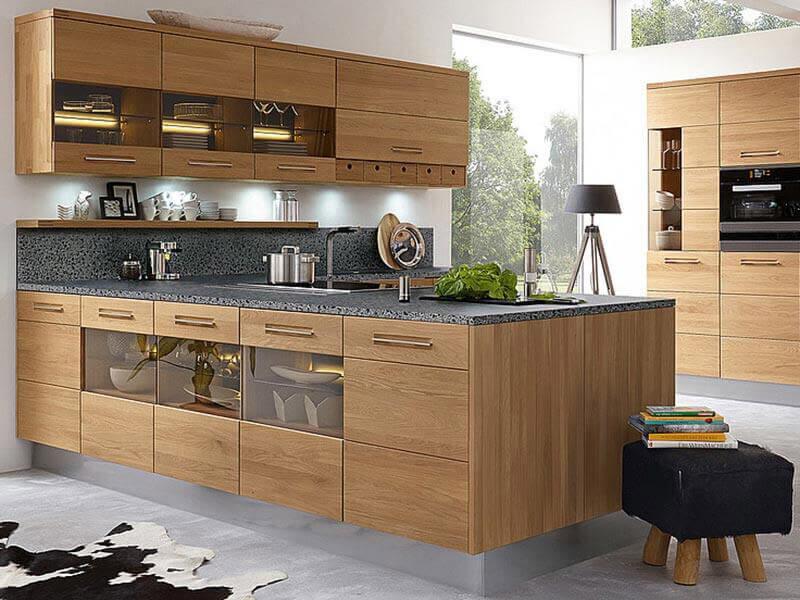 Küchenkombination Decker Massivholz Glaswandschränke