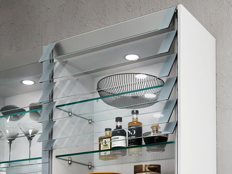 Küchenwandschrank weiß Glas