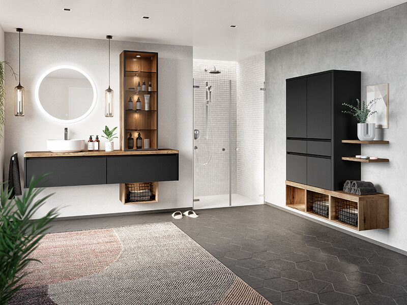Badmöbel schwarz matt modern LED beleuchtet Wohn Schick