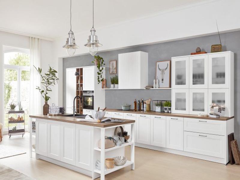 Interliving Küche weiß Landhaus mit elektrogeräten zweiteilig bei Wohn Schick
