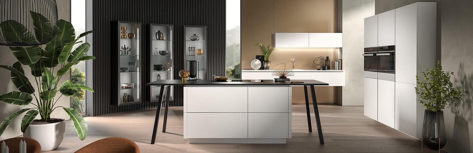 Kücheninsel weiß mit Elektrogeräte bei Wohn Schick
