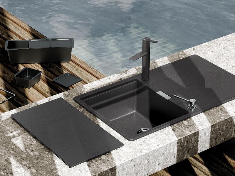 Spülbecken mit Armatur schwarz kaufen bei  Wohn Schick