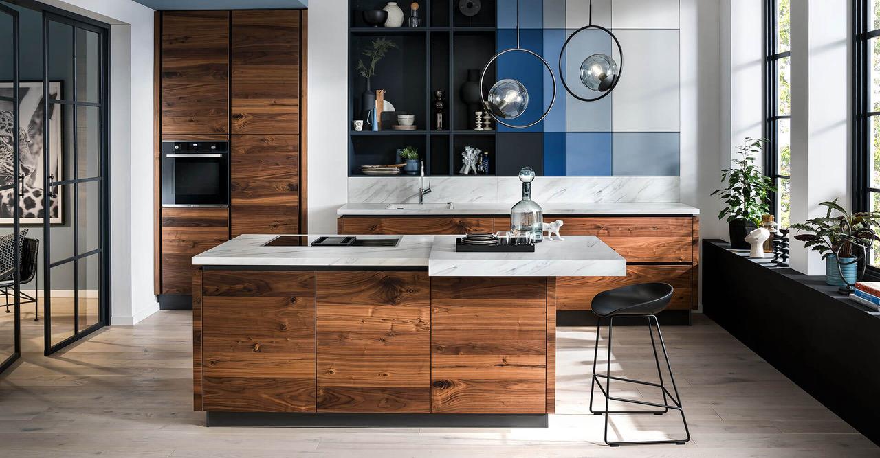 Kücheninsel holz Marmor modern schick
