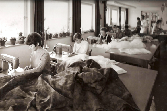 Die Wohn Schick Gardinennäherei in den 60er Jahren