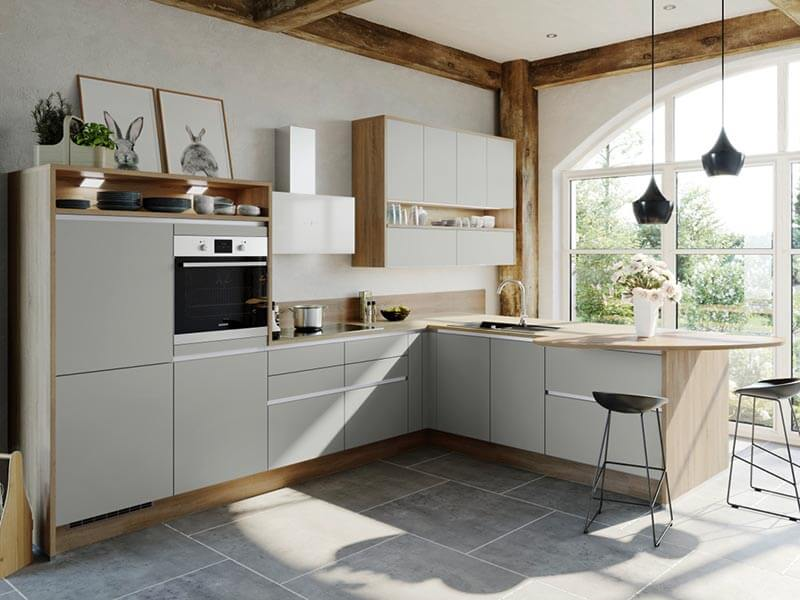 L-Küche modern grifflos Express Küchen bei Wohn Schick