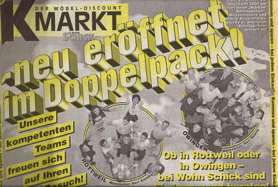 Der Möbel Discount K-Markt by Wohn Schick - Zeitungsauszug
