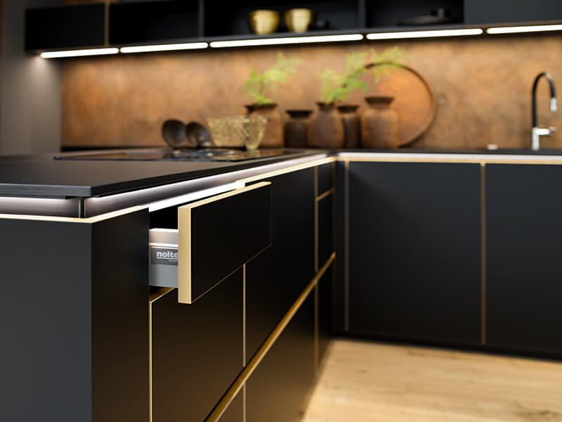 nolte Küche mit LED Beleuchtung modern bei Wohn Schick