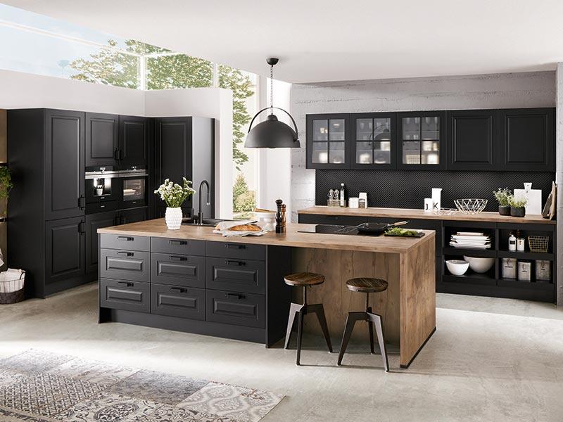 Küche Landhaus schwarz mit Theke Holz-Optik mit Elektrogeräte nobilia