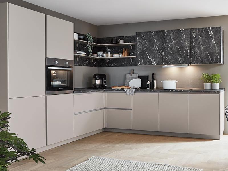 Küche L-Form grau matt Marmor mit Backofen