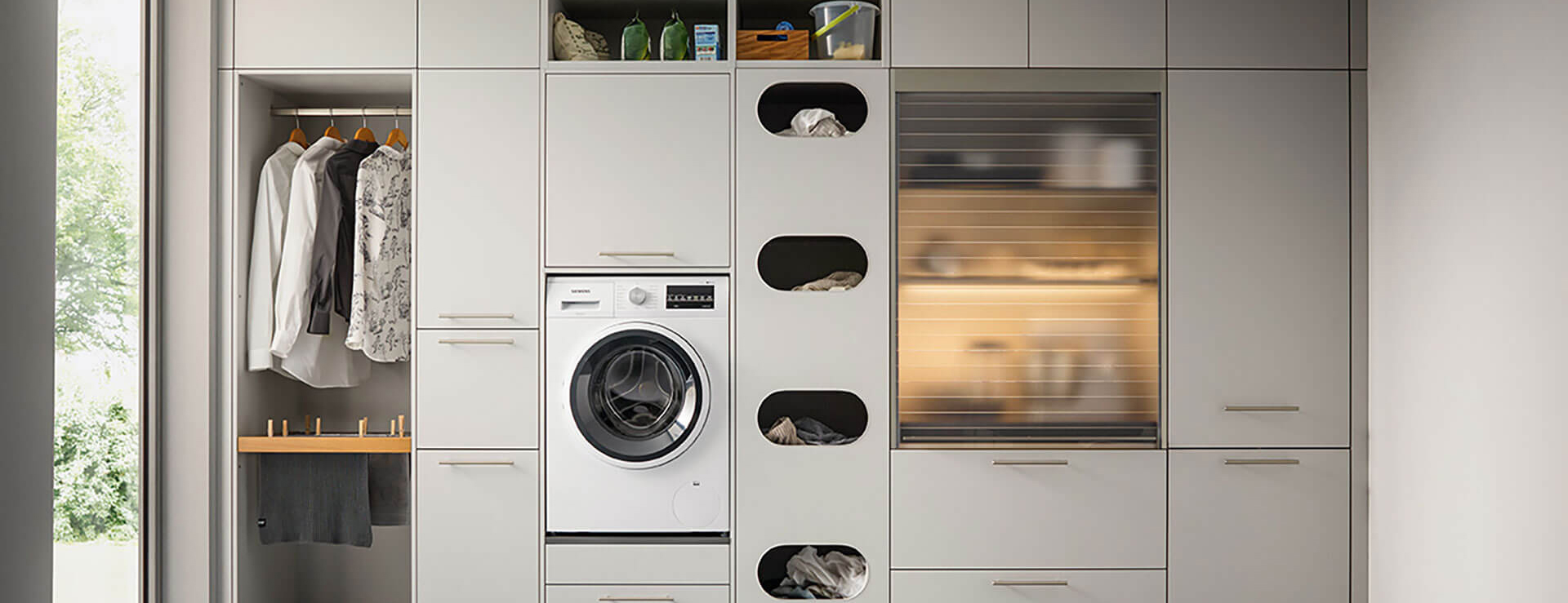 hell grau Haushalt Raum zum Wäschewaschen